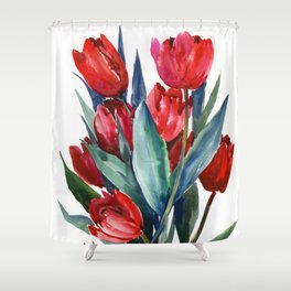 Red Tulips Floral Red,Turquoise Blue Artwork, garden tulips tulip lover design Shower Curtain