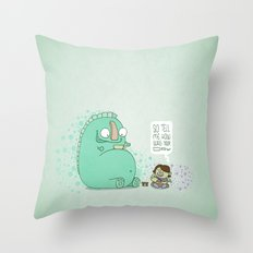 Monster and Tea Throw Pillow