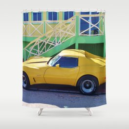 Yellow Chevy Vette Shower Curtain