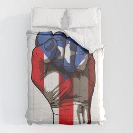 Puerto Rico Fist | Proud Boricua Flag Comforters