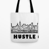 hustle Tote Bags featuring HUSTLE by BACK to THE ROOTS