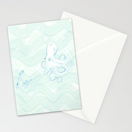 octopus and eels in the ocean life Stationery Cards