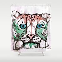 snow leopard Shower Curtains featuring Snow leopard by Caballos of Colour
