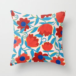 Sunlit Flowers in Red Throw Pillow