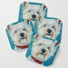Jesse the Beautiful West Highland White Terrier Dog Portrait Coaster