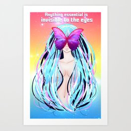 Anime girl with butterfly Art Print