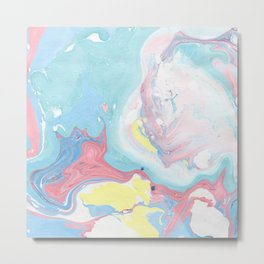 Abstract pastel pink blue teal yellow watercolor marble Metal Print