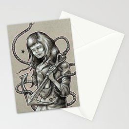 Girl Holding an Anchor Stationery Cards