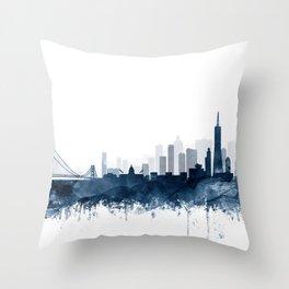 San Francisco City Skyline Watercolor Blue by zouzounioart Throw Pillow