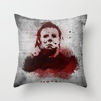 michael myers Throw Pillows featuring Myers by Colo Design