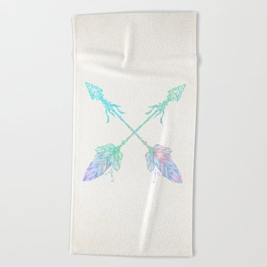 Arrows Blue Green Pink Vintage Cream Beach Towel