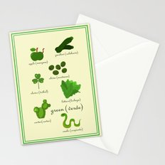 Colors: green (Los colores: verde) Stationery Cards