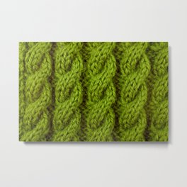 Green cable knitting stitch Metal Print