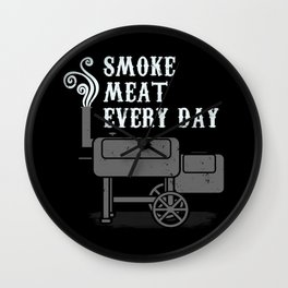 Smoke Meat Every Day Barbecue BBQ Grill Smoker Wall Clock