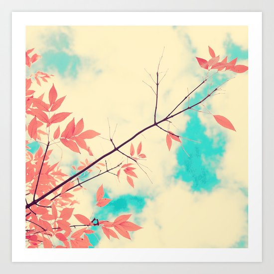 Pink fall leafs on retro vintage sky  Art Print