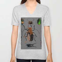 NATURE LOVERS BEETLE BUG COLLECTION ART Unisex V-Neck