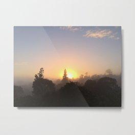 SUNRISE THROUGH MORNING FOG Metal Print