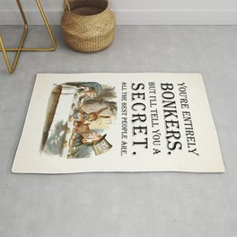 Alice In Wonderland -Colors- Tea Party - You're Entirely Bonkers - Quote Rug