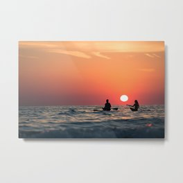 man woman boat rowing in sea Metal Print