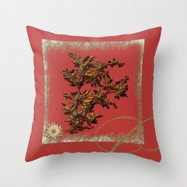 Golden flower on red Throw Pillow