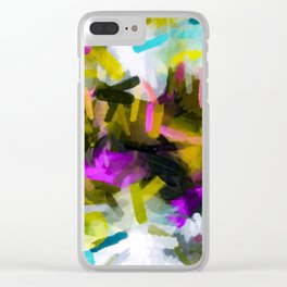 pink yellow blue black abstract painting background Clear iPhone Case