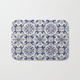 Portuguese tiles pattern blue Bath Mat