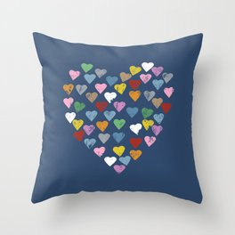 Distressed Hearts Heart Navy Throw Pillow
