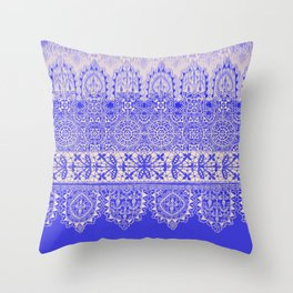 crochet lace mixed in blue Throw Pillow