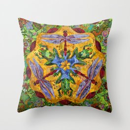 Toad & Dragonfly Throw Pillow