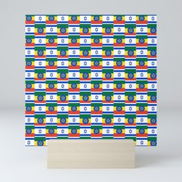 Mix of flag : israel and ethiopia Mini Art Print