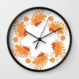 Wreath of colorful autumn leaves, berries, pumpkins and flowers Wall Clock