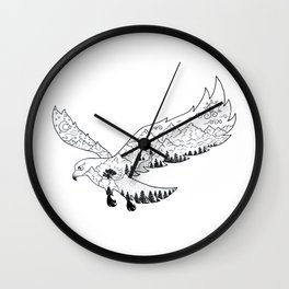 AfetMirzayeva Graphic Drawing Nature Birds Illustration Fantasy Wall Clock