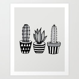 Cactus Plant monochrome cacti nature greyscale illustration floral succulent leaf home wall decor Art Print