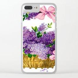 Vintage Lilacs Antique Basket Clear iPhone Case