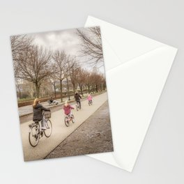 Winter Scene People at Park, Lucca, Italy Stationery Cards
