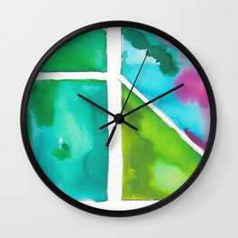 180811 Watercolor Block Swatches 9 | Colorful Abstract |Geometrical Art Wall Clock