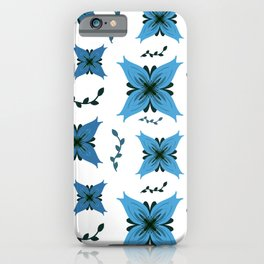 Blue Lily Flower Pattern iPhone Case