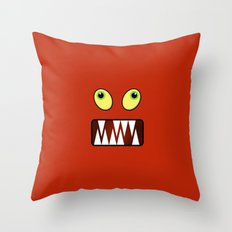 Funny monster face Throw Pillow