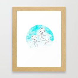 Dancing Jellyfish in the snow Framed Art Print