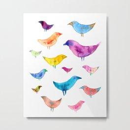 Watercolor Birds Metal Print