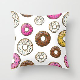 Funfetti Donuts - White Throw Pillow