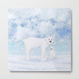 polar bears in the snow Metal Print