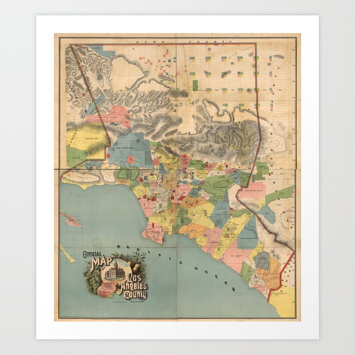 Vintage Map of Los Angeles County CA 1888 Art Print by