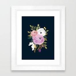 Midnight Florals - Pink & Purple Framed Art Print