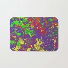 Expr3ss Y0ur5e1f - Expressive, abstract colour splatter painting Bath Mat
