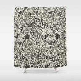 Lace on black background Shower Curtain