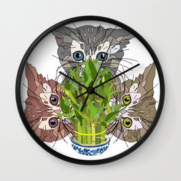 Lucky Kitten Bamboo Wall Clock