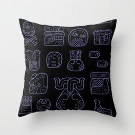 Picto-glyphs Story--Negro Throw Pillow