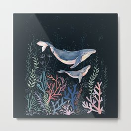 Whales and Coral Metal Print