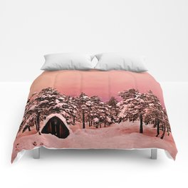 Magic of frozen forest Comforters